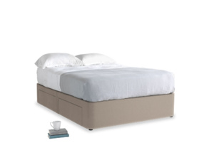 Double Tight Space Storage Bed in Fawn clever velvet