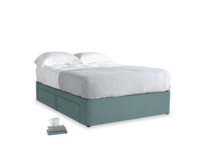 Double Tight Space Storage Bed in Marine washed cotton linen