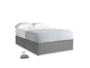 Double Tight Space Storage Bed in Gun Metal brushed cotton