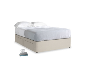 Double Tight Space Storage Bed in Buff brushed cotton