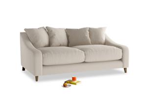Medium Oscar Sofa in Buff brushed cotton