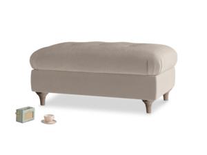 Rectangle Jammy Dodger Footstool in Fawn clever velvet