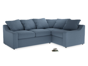 Large Right Hand Cloud Corner Sofa in Nordic blue brushed cotton