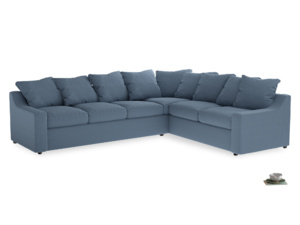 Xl Right Hand Cloud Corner Sofa in Nordic blue brushed cotton