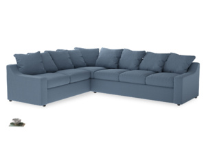 Xl Left Hand Cloud Corner Sofa in Nordic blue brushed cotton