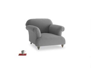 Soufflé Armchair in Gun Metal brushed cotton
