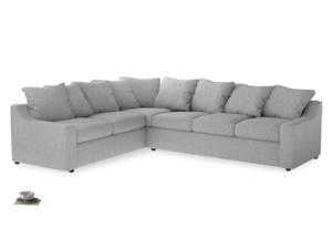 Xl Left Hand Cloud Corner Sofa in Mist cotton mix