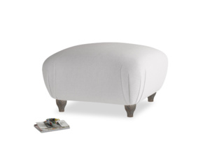 Small Square Homebody Footstool in Flint brushed cotton