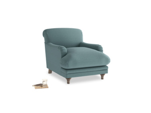 Pudding Armchair in Marine washed cotton linen