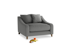 Oscar Love seat in French Grey brushed cotton