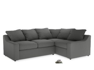 Large Right Hand Cloud Corner Sofa in French Grey brushed cotton