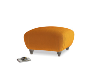 Small Square Homebody Footstool in Spiced Orange clever velvet