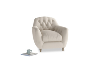Butterbump Armchair in Buff brushed cotton