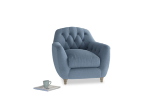 Butterbump Armchair in Nordic blue brushed cotton