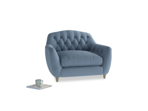 Love Seat Butterbump Love Seat in Nordic blue brushed cotton