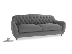 Large Butterbump Sofa in Gun Metal brushed cotton