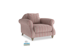 Sloucher Armchair in Red french stripe