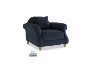 Sloucher Armchair in Indigo vintage linen