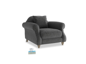 Sloucher Armchair in Shadow Grey wool