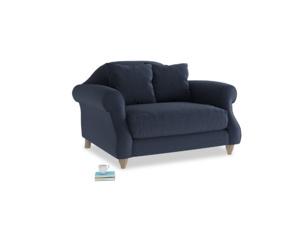 Sloucher Love seat in Indigo vintage linen