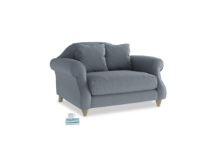 Sloucher Love seat in Blue Storm washed cotton linen