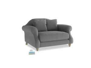 Sloucher Love seat in Ash washed cotton linen