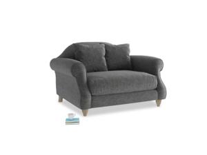 Sloucher Love seat in Shadow Grey wool