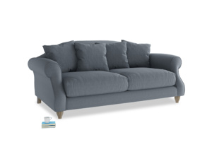Medium Sloucher Sofa in Blue Storm washed cotton linen