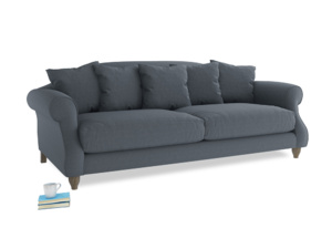 Large Sloucher Sofa in Blue Storm washed cotton linen