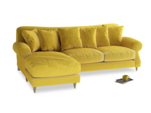 XL Left Hand  Crumpet Chaise Sofa in Bumblebee clever velvet