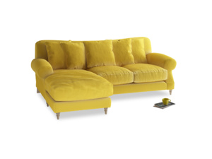 Large left hand Crumpet Chaise Sofa in Bumblebee clever velvet