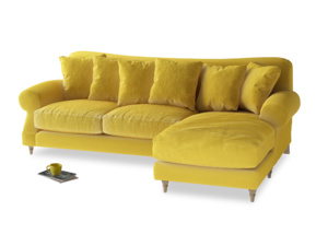 XL Right Hand  Crumpet Chaise Sofa in Bumblebee clever velvet