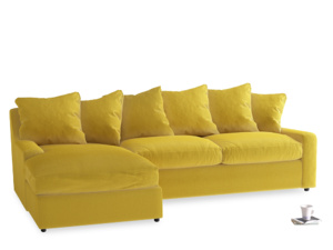 XL Left Hand  Cloud Chaise Sofa in Bumblebee clever velvet