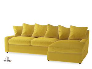 XL Right Hand  Cloud Chaise Sofa in Bumblebee clever velvet