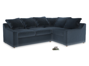 Large Right Hand Cloud Corner Sofa in Liquorice Blue clever velvet
