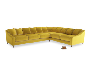 Xl Right Hand Oscar Corner Sofa  in Bumblebee clever velvet