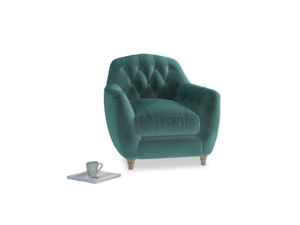 Butterbump Armchair in Real Teal clever velvet