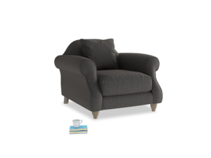 Sloucher Armchair in Old Charcoal brushed cotton