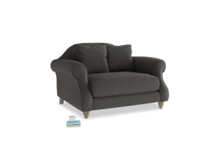 Sloucher Love seat in Old Charcoal brushed cotton