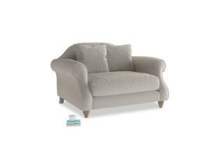 Sloucher Love seat in Smoky Grey clever velvet