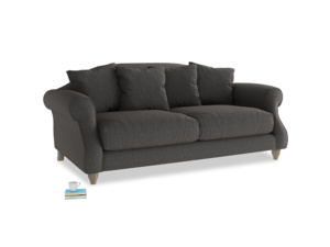 Medium Sloucher Sofa in Old Charcoal brushed cotton