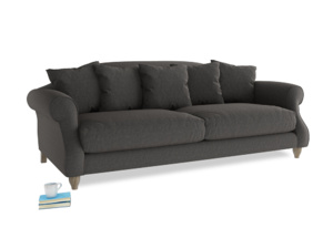 Large Sloucher Sofa in Old Charcoal brushed cotton