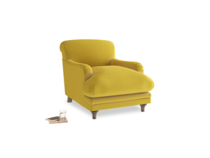 Pudding Armchair in Bumblebee clever velvet