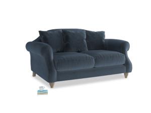 Small Sloucher Sofa in Liquorice Blue clever velvet