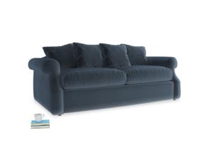 Medium Sloucher Sofa in Liquorice Blue clever velvet