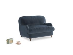 Jonesy Love seat in Liquorice Blue clever velvet