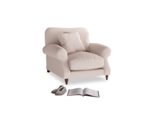 Crumpet Armchair in Faded Pink brushed cotton