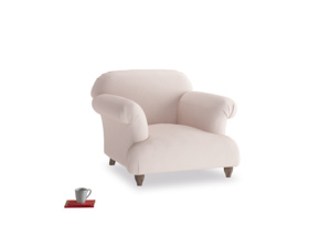 Soufflé Armchair in Faded Pink brushed cotton