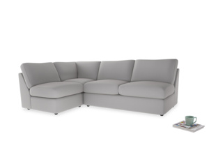 Large left hand Chatnap modular corner sofa bed in Flint brushed cotton