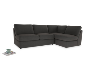 Large right hand Chatnap modular corner sofa bed in Old Charcoal brushed cotton